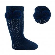 PS04-N: Navy Pelerine Knee-Length Socks w/Pom Pom (0-24 Months)