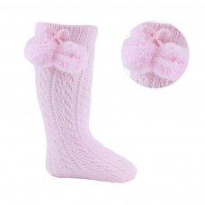 PS04-P: Pink Pelerine Knee-Length Socks w/Pom Pom (0-24 Months)