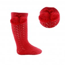 PS04-R: Red Pelerine Knee-Length Socks w/Pom Pom (0-24 Months)