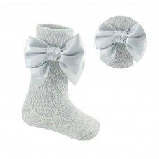 PS06-G: Grey Pelerine Knee-Length Socks w/Bow (0-24 Months)
