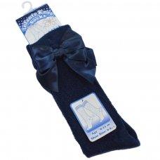 PS06-N: Navy Pelerine Knee-Length Socks w/Bow (0-24 Months)