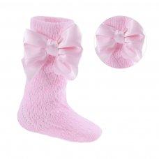 PS06-P: Pink Pelerine Knee-Length Socks w/Bow (0-24 Months)
