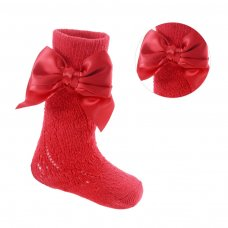 PS06-R: Red Pelerine Knee-Length Socks w/Bow (0-24 Months)