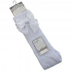 PS06-W: White Pelerine Knee-Length Socks w/Bow (0-24 Months)