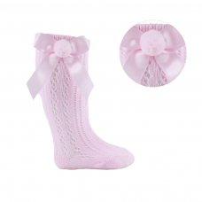 PS08-P: Pink Pelerine Knee-Length Socks w/Bow & Pom Pom (0-24 Months)