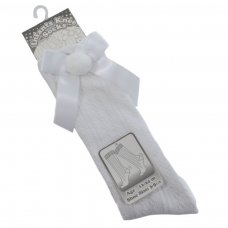 PS08-W: White Pelerine Knee-Length Socks w/Bow & Pom Pom (0-24 Months)