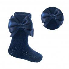 PS16-N: Navy Pelerine Knee-Length Socks w/Bow (2-6 Years)