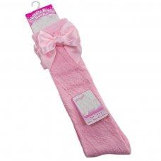 PS16-P: Pink Pelerine Knee-Length Socks w/Bow (2-6 Years)