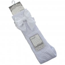 PS16-W: White Pelerine Knee-Length Socks w/Bow (2-6 Years)