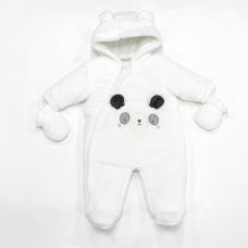 L2106: Baby Panda, Cotton Lined Padded Fur Snowsuit (3-12 Months)