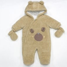 L2109: Baby Bear Cotton Lined Padded Fur Snowsuit (3-12 Months)