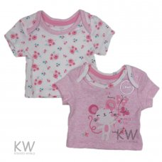 PX3: Baby Girls Ex-Chainstore 2 Pack T-Shirts (NB-12 Months)