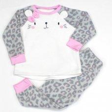 L4124: Girls Cat All Over Print Fleece Pyjama (2-6 Years)