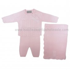 Q17053: Baby Girls Pink Knitted 3 Piece Set With Shawl (0-9 Months)