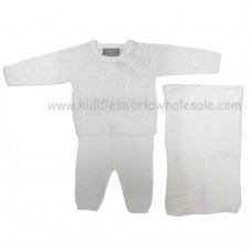 Q17054: Baby Unisex White Knitted 3 Piece Set With Shawl (0-9 Months)