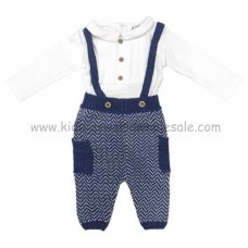 Q17071: Baby Boys Knitted Pant With Braces &  Bodysuit Outfit (0-18 Months)