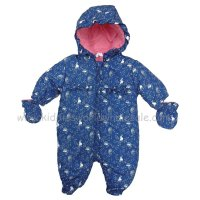Q17107: Baby Girls All Over Print Woodland, Cotton Lined, Quilted Snowsuit (0-12 Months)