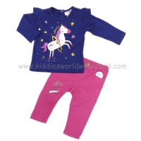 Q17123: Baby Girls Unicorn Top & Pink Jean Set (3-18 Months)