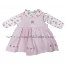 Q17138: Baby Girls Printed Bodysuit & Quilted Dress With Smocking (0-9 Months)