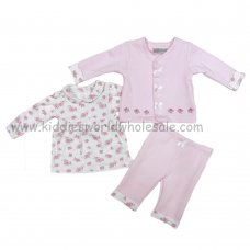 Q17139: Baby Girls Quilted 3 Piece Outfit With Smocking (0-9 Months)