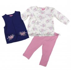 Q17173: Baby Girls Quilted Gilet, Floral Top & Legging Outfit (3-24 Months)