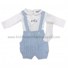 Q17313: Baby Boys Cotton Knitted Short With Braces, Bodysuit & Socks Outfit (0-9 Months)