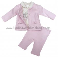 Q17318: Baby Girls Quilted 3 Piece Outfit (0-12 Months)