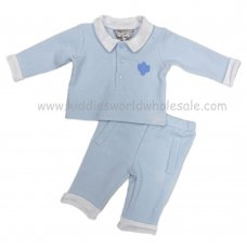 Q17338: Baby Boys Embossed Stars Top & Trouser Set (0-9 Months)