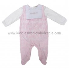Q17344: Baby Girls Bow Burnout Velour Dungaree & Bodysuit Set (0-9 Months)