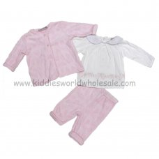 Q17385: Baby Girls Bow Burnout Velour Jacket, Pant & Cotton Top Set (0-9 Months)
