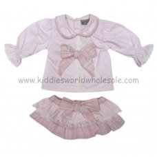 Q17389: Baby Girls Bow Top & Skirt Outfit (0-12 Months)