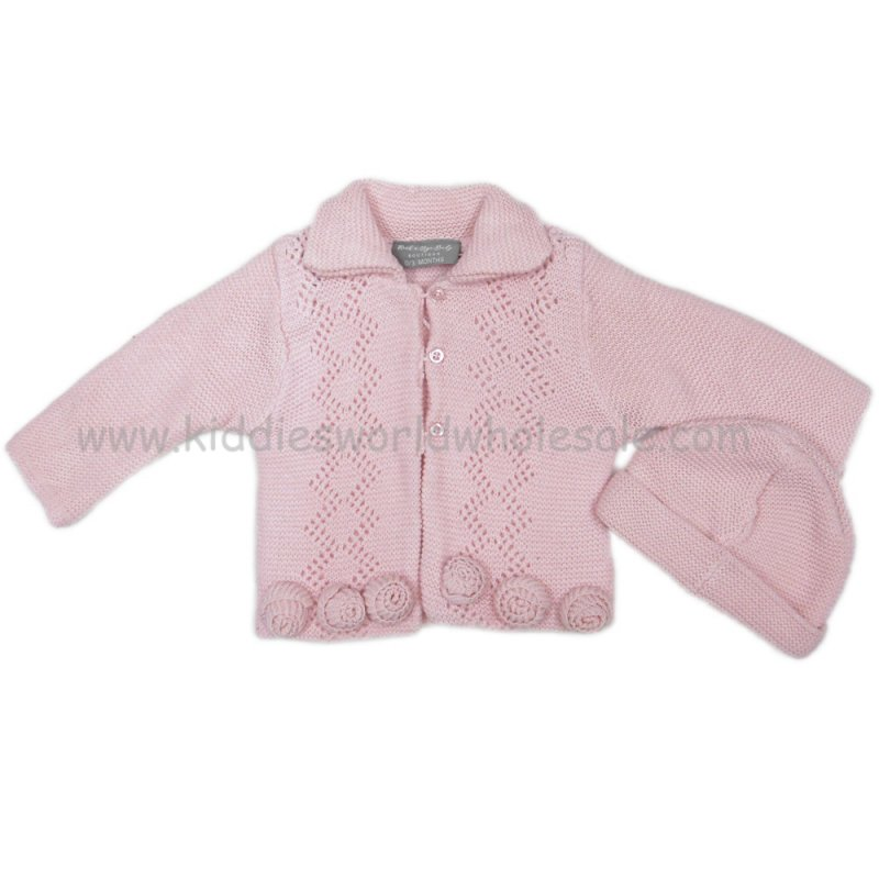 Q17420: Baby Girls Double Knit Cardigan With 3D Roses & Hat Set (0-12 Months)