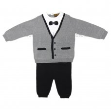 Q17430: Baby Boys Tuxedo Style Knitted 2 Piece Set (0-12 Months)