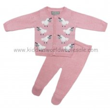Q17522: Baby Girls Knitted 2 Piece Set With Sheep Motifs (0-9 Months)