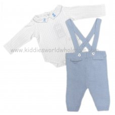 Q17525: Baby Boys Cotton Knitted Dungaree & Bodysuit Set (0-12 Months)