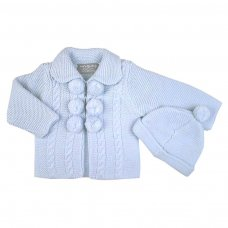 Q17530: Baby Boys Double Knit Cardigan With Pom Poms & Hat Set (0-12 Months)