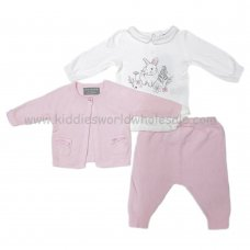 Q17536P: Baby Girls 3 Piece Knitted Cardigan, Trouser & Bodysuit Outfit (0-12 Months)