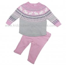 Q17538: Baby Girls Bunny Fairisle Knitted Jumper & Twill Pant Set (3-24 Months)