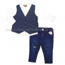 Q17575: Baby Boys Waistcoat, Shirt & Denim Jean Outfit (3-24 Months)