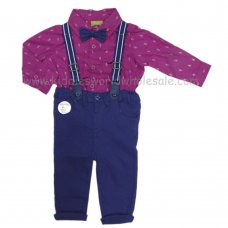 Q17599: Baby Boys Bodysuit Shirt With Bow Tie & Chino Pant With Braces Outfit (3-18 Months)