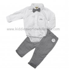 Q17604: Baby Boys  Bodysuit Shirt With Bow Tie & Chino Pant Outfit (3-24 Months)