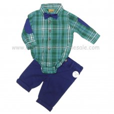 Q17608: Baby Boys Green Check Bodysuit Shirt With Bow Tie & Chino Pant Outfit (0-18 Months)