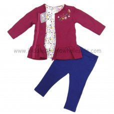 Q17630: Baby Girls Quilted Jacket, Top & Legging Outfit (3-24 Months)