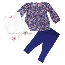Q17690: Baby Girls Quilted Gilet, Floral Top & Legging Outfit (3-24 Months)