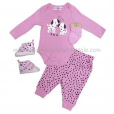 Q17718: Baby Girls Dalmatian 4 Piece Outfit With Shoes (0-12 Months)