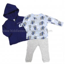 Q17771: Baby Boys Elephant 3 Piece Quilted Jacket, Top & Jogger Set (3-24 Months)