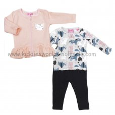 Q17788: Baby Girls Quilted Jacket, Top & Legging Outfit (3-24 Months)