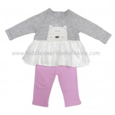 Q17791: Baby Girls Quilted Dress With Glitter Print Tutu & Legging Set (3-24 Months)