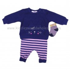 Q17797: Baby Girls 3 Piece Quilted Top, Jogger & Socks Outfit (0-9 Months)