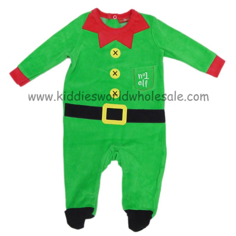 Q17860: Baby Christmas Elf Velour All In One (0-9 Months)